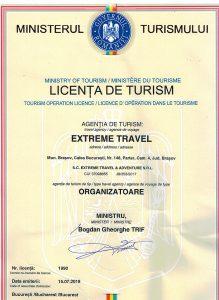 Licenta de Turism Extreme Travel nr 1990 / 2019